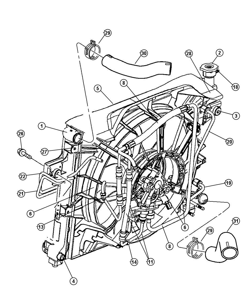 2008 Jeep Liberty Hose  Radiator Inlet  Venezuela  Cooling  Engine