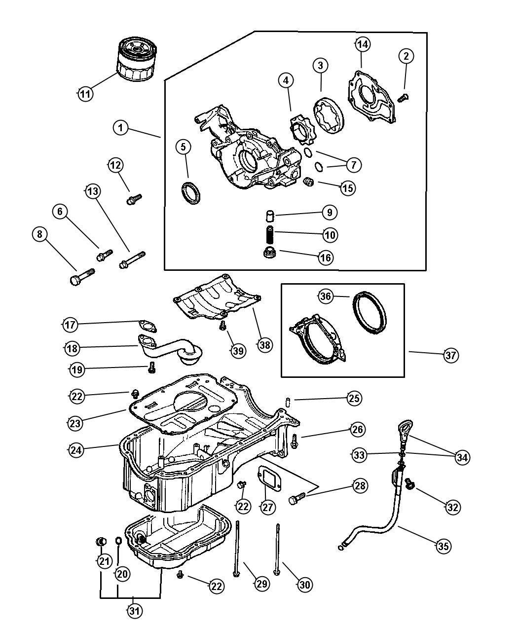 Chrysler Sebring Gear  Oil Pump Driven  Engine  Oiling