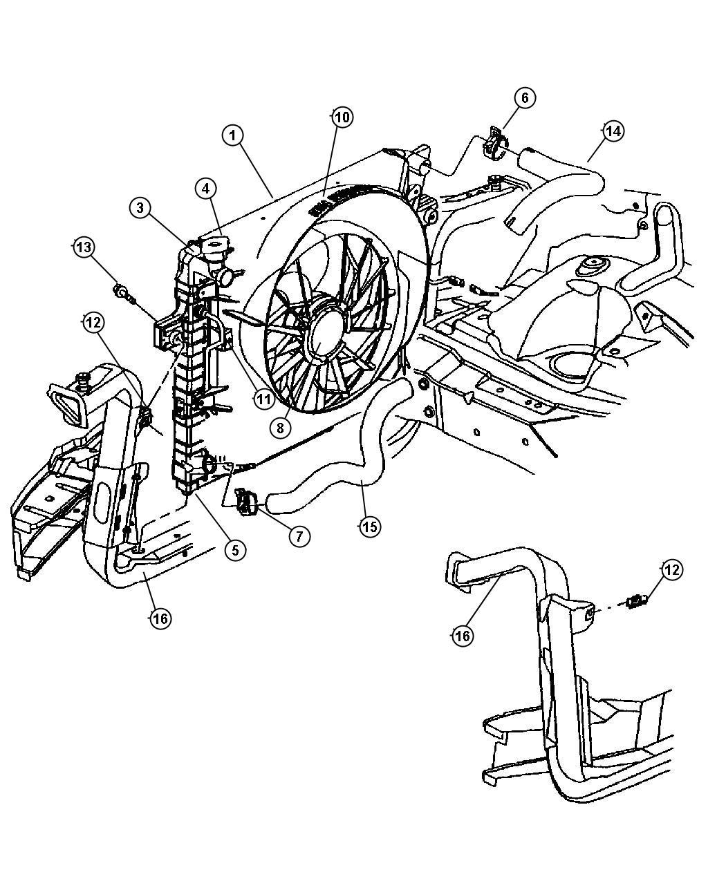 2013 dodge durango radiator  engine cooling   after 2