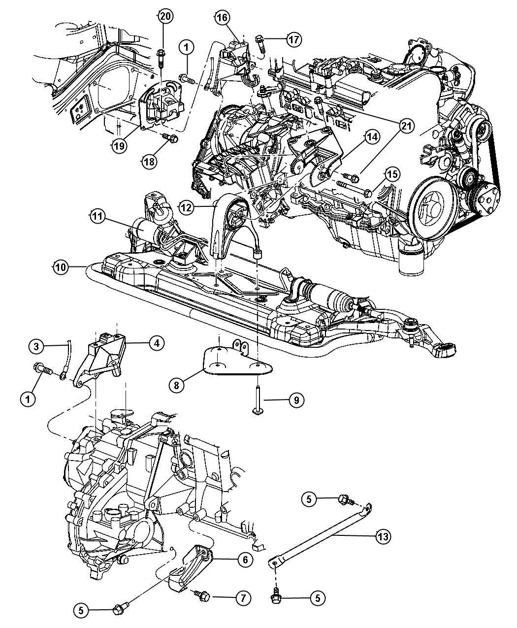 2001 Dodge Stratus Bracket  Torque Reaction  Engine