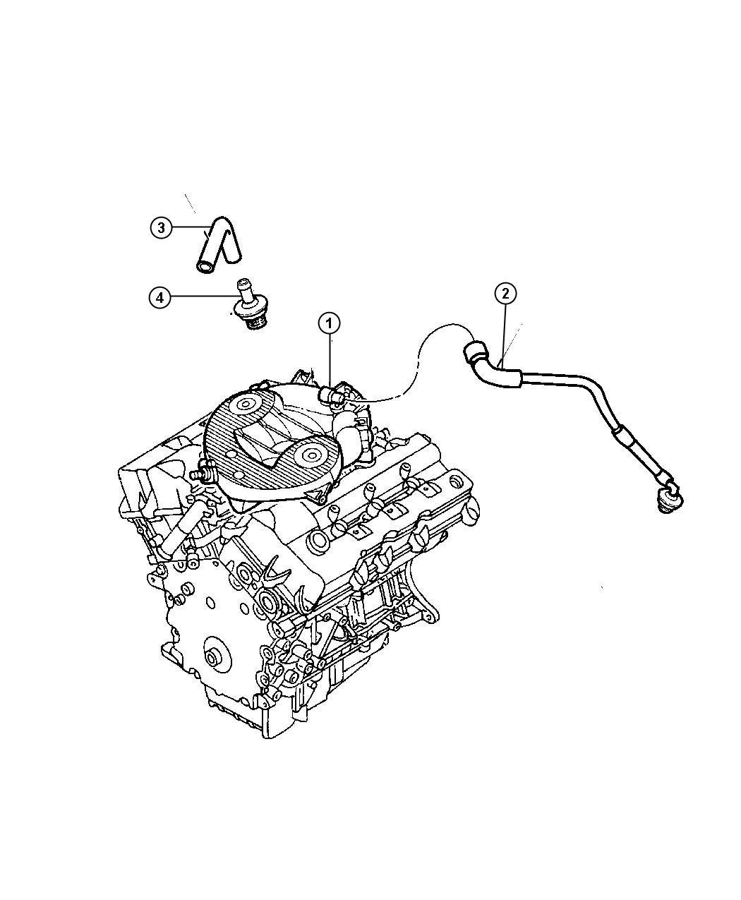 2004 dodge stratus hose  make up air  ventilation  crankcase  engine