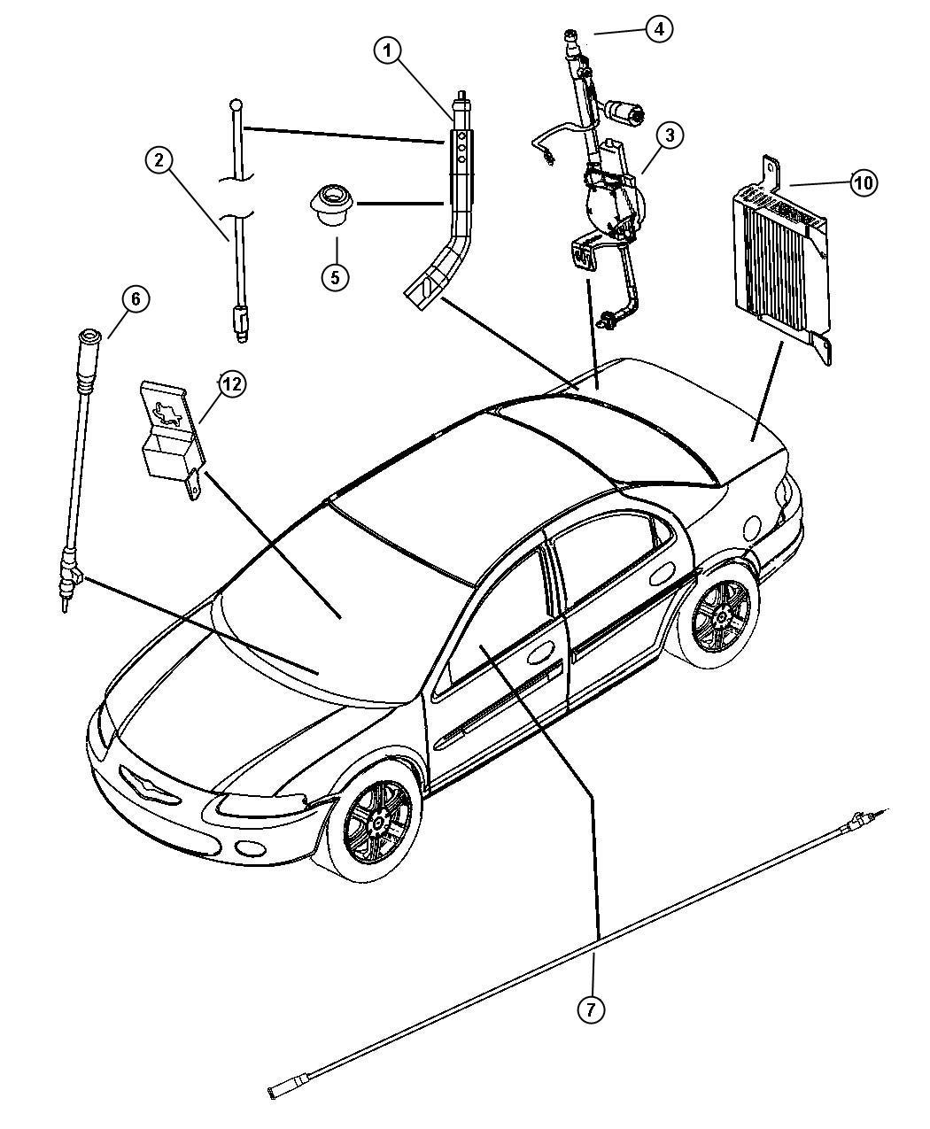 Chrysler Sebring Antenna. [rdd], Body Fixed. Speakers