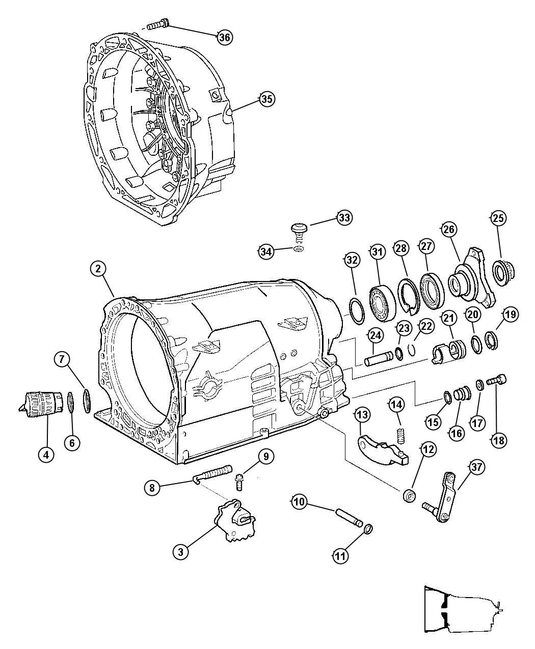 2011 Dodge Nitro Flange  Drive Shaft  Case  Extension  Transmission