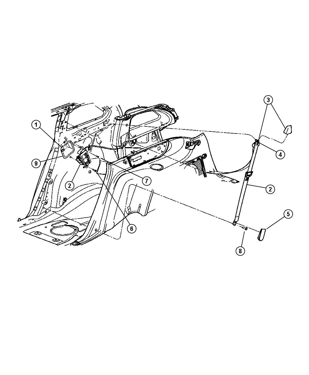 2004 Chrysler Pacifica Cup  Seat Belt Retractor  Rear