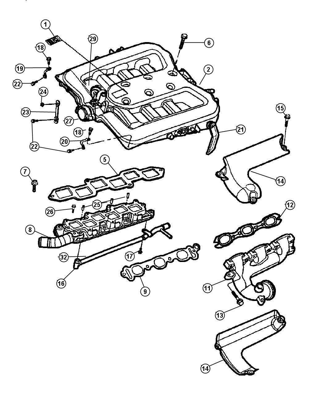 2001 Dodge Intrepid Shield Lower Left Exhaust Manifold