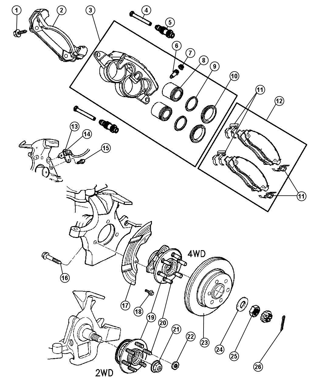 2003 dodge dakota caliper  left  disc brake  brakes