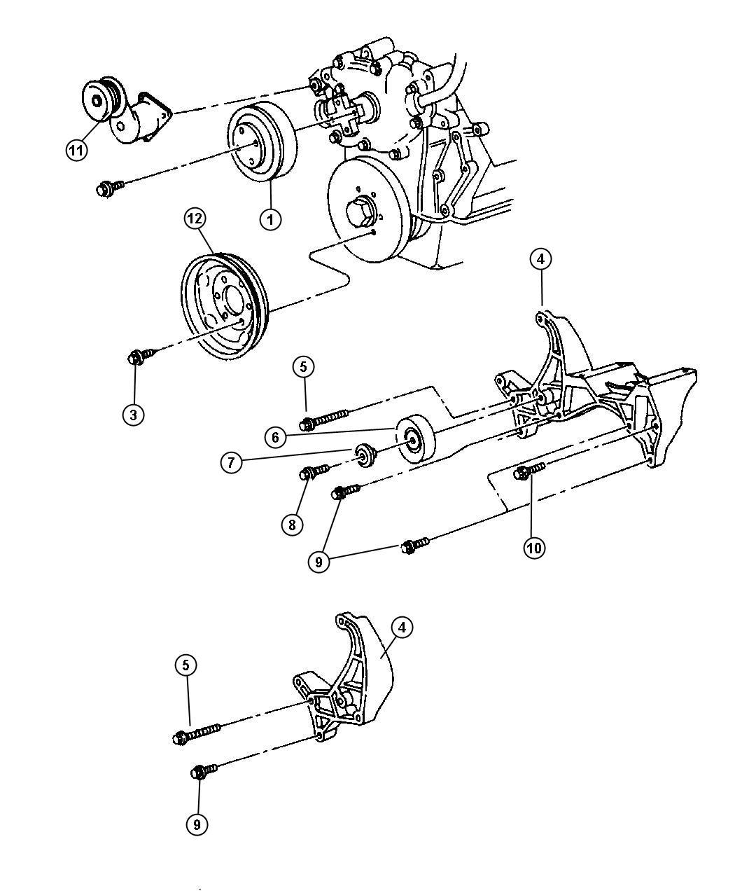 dodge ram 1500 pulley  idler  after 3-30-98