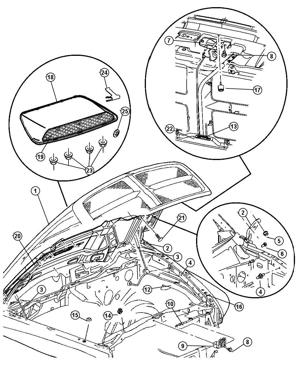 2004    Dodge    Ram 2500 Retainer    Hood    latch    release    rod