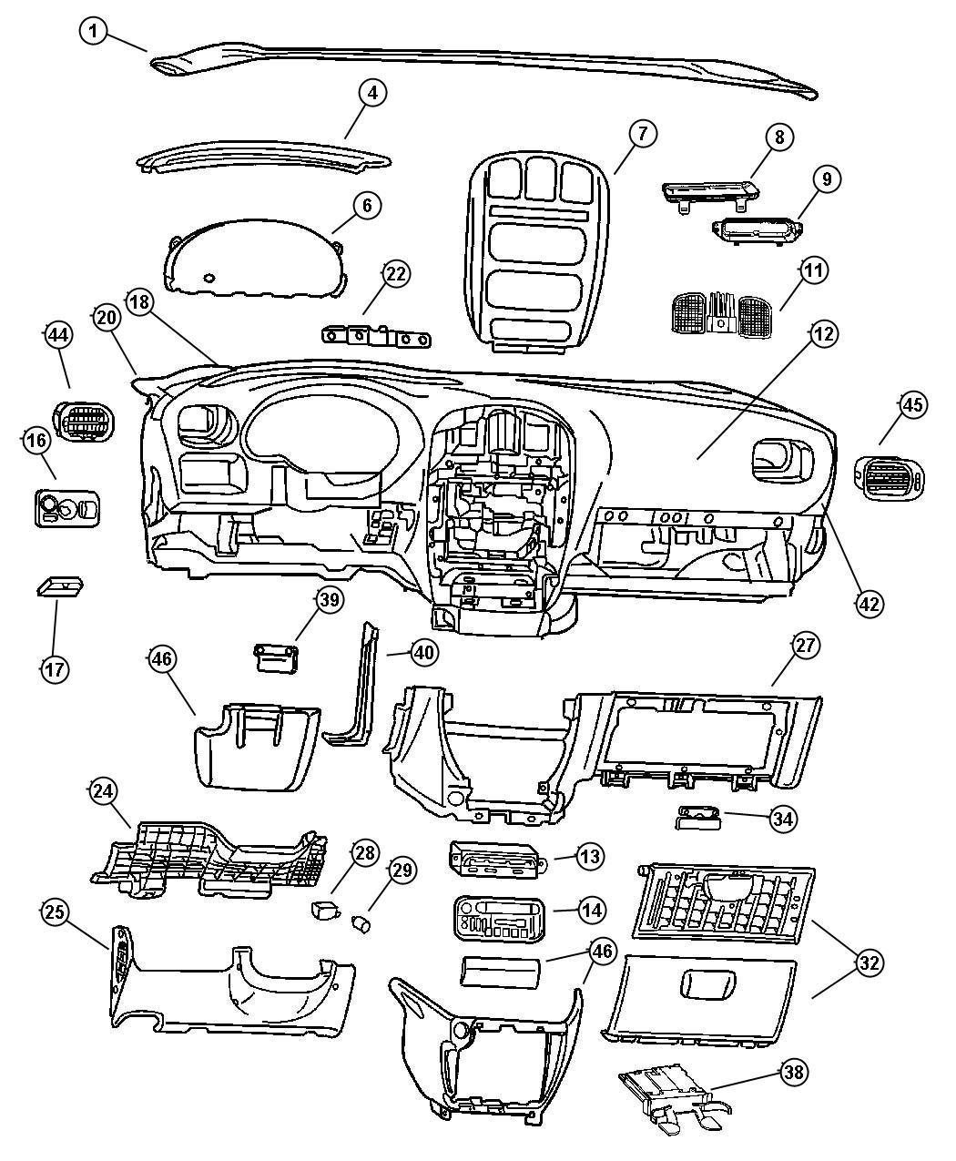 dodge ram 1500 cupholder  instrument panel   j3   trim