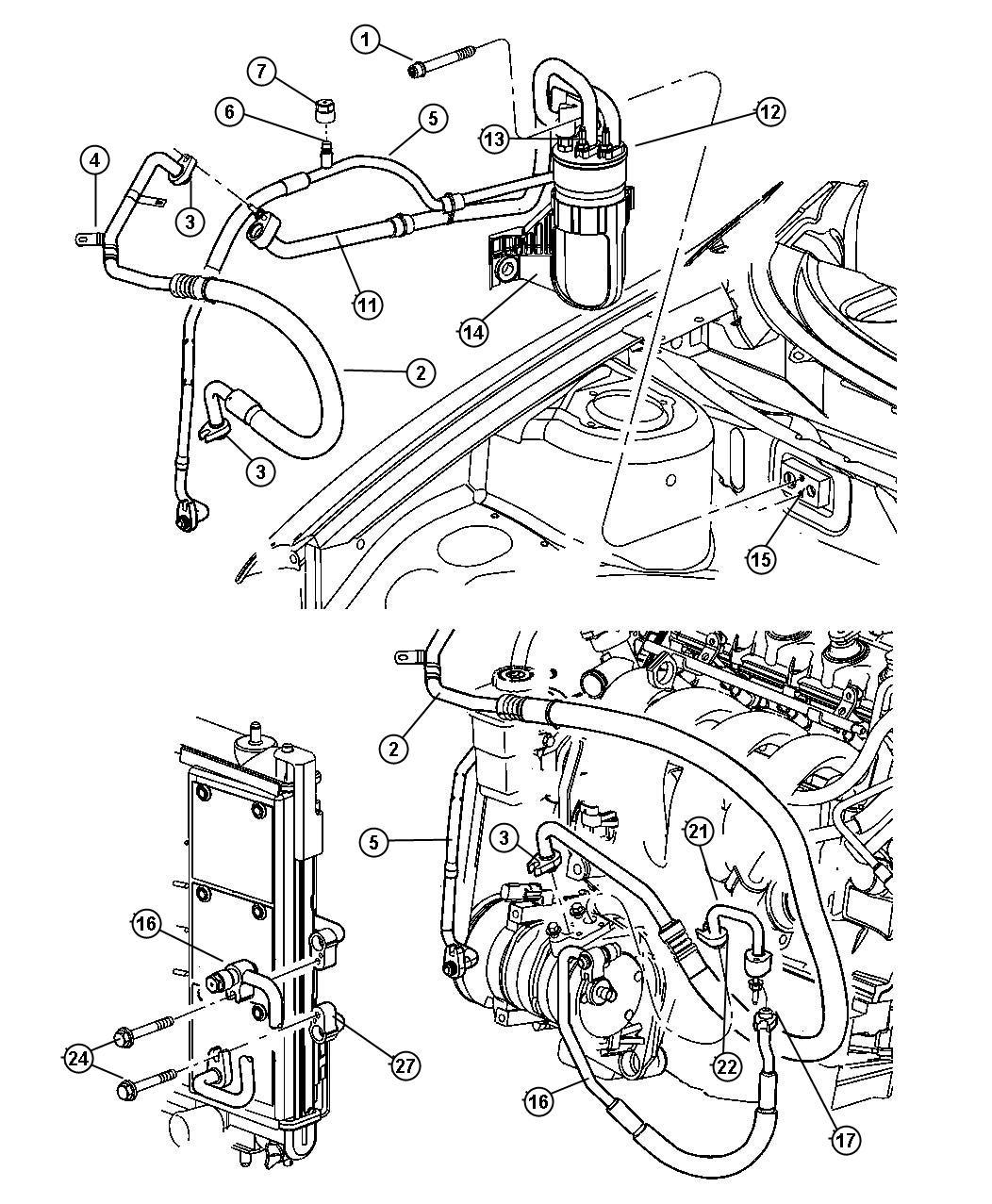 2007 dodge nitro condenser air conditioning plumbing. Black Bedroom Furniture Sets. Home Design Ideas