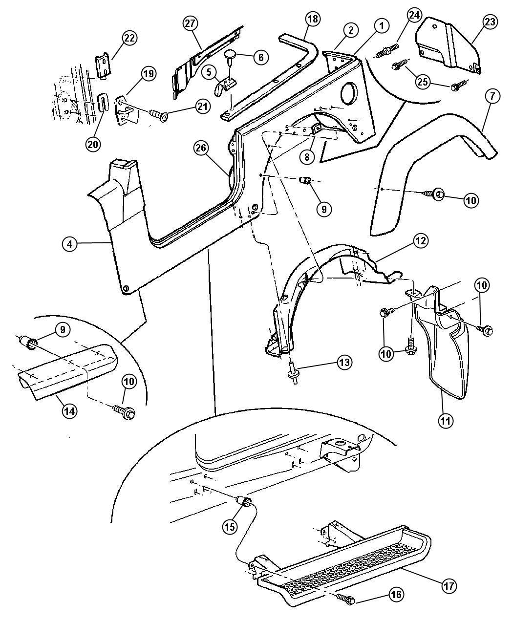 2004 Jeep Wrangler Retainer  Belt Rail  Right  Body