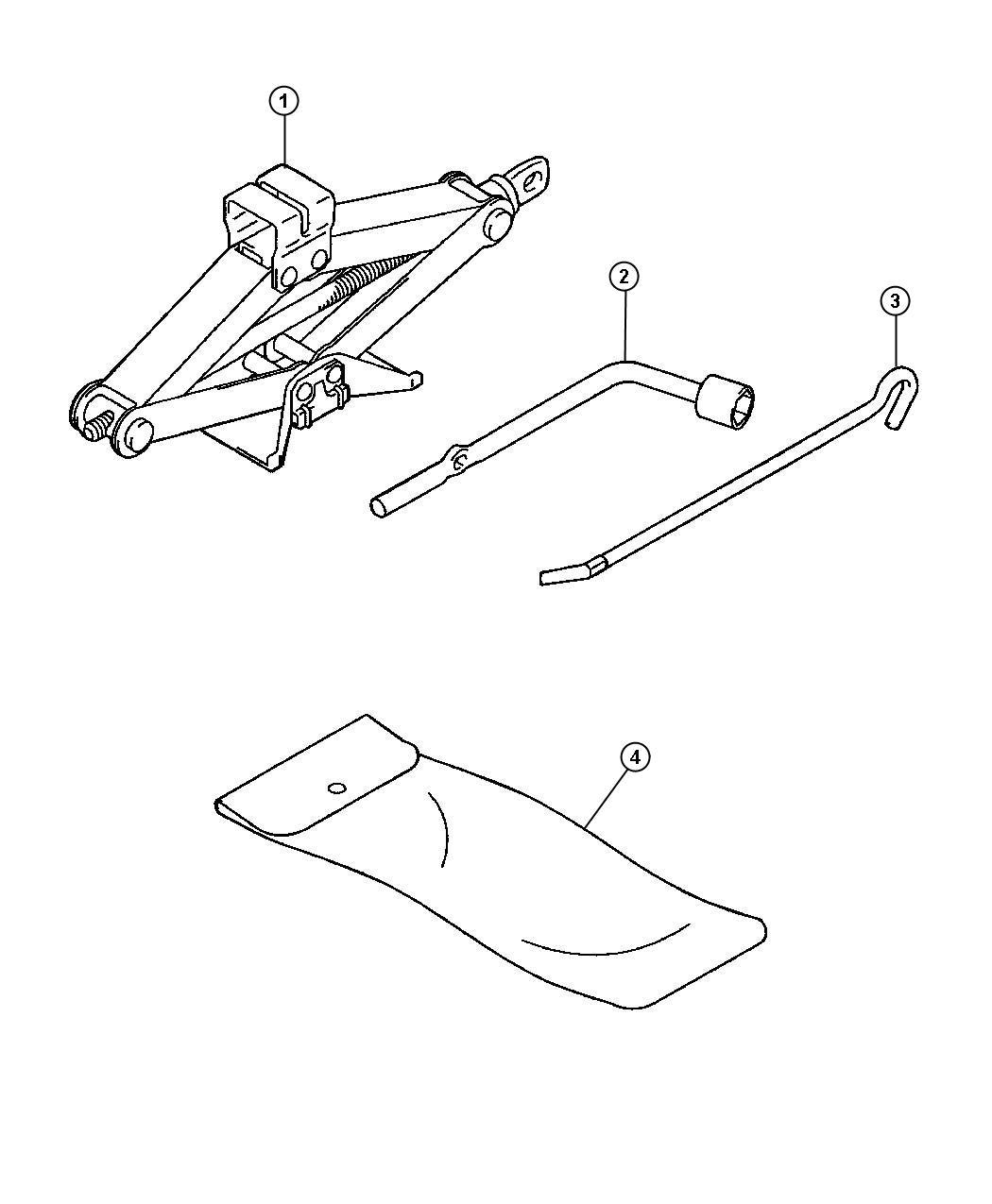 2004 chrysler sebring bag jack tool storage mr403998. Black Bedroom Furniture Sets. Home Design Ideas