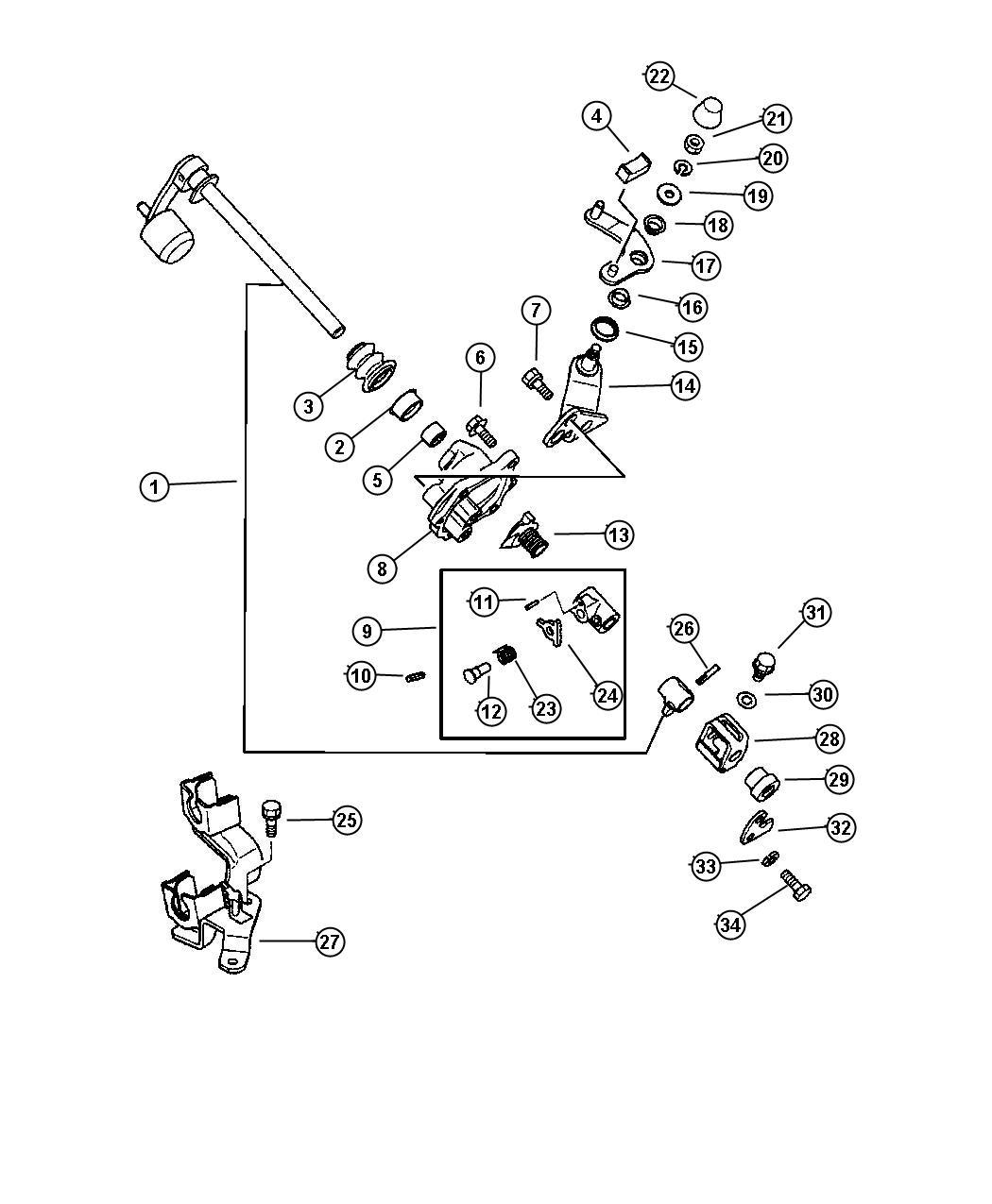 2004 chrysler sebring pin  shift shaft   5x22   sept