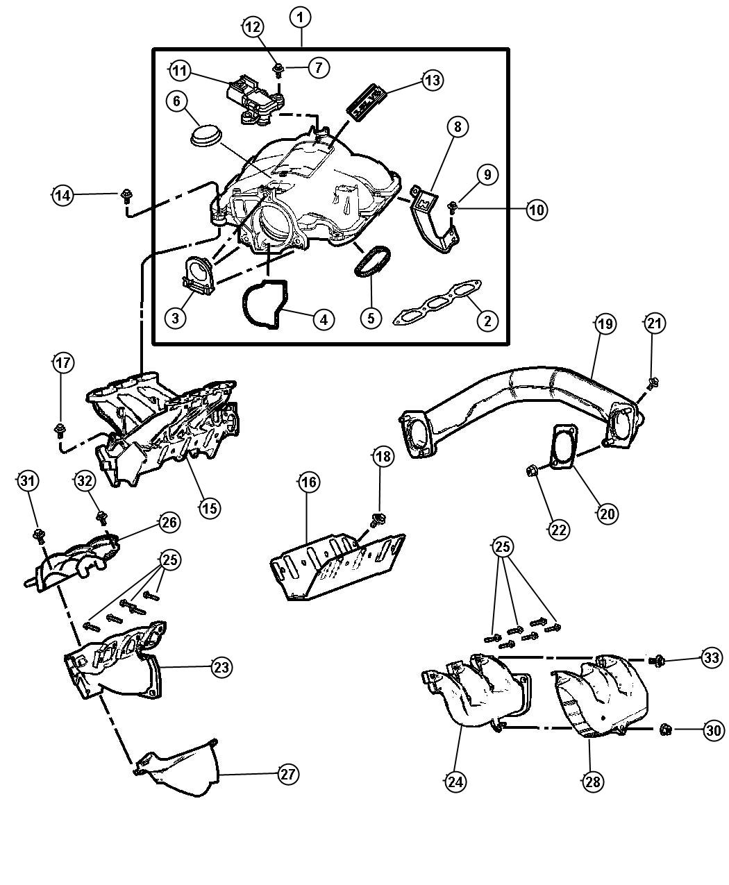 Dodge Grand Caravan Gasket  Intake Plenum  Engine