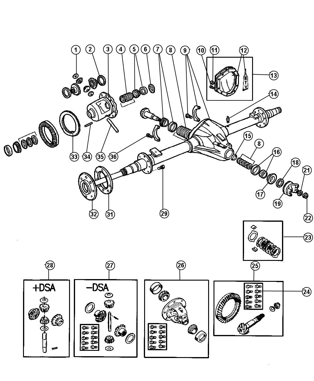 2001 dodge ram 2500 yoke  axle  differential  dana  anti