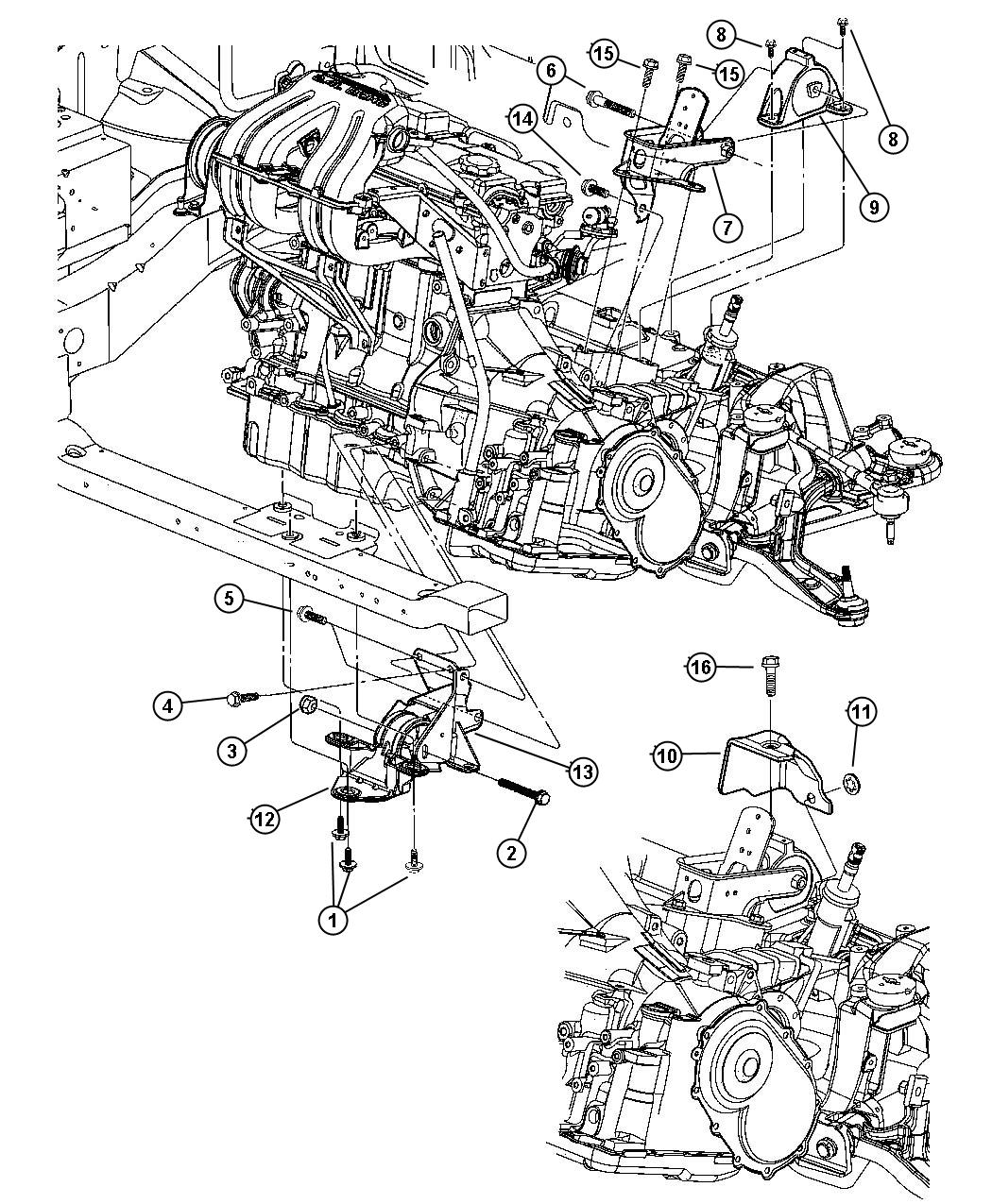 2011 Dodge Caliber Bracket  Transmission Support  Rear