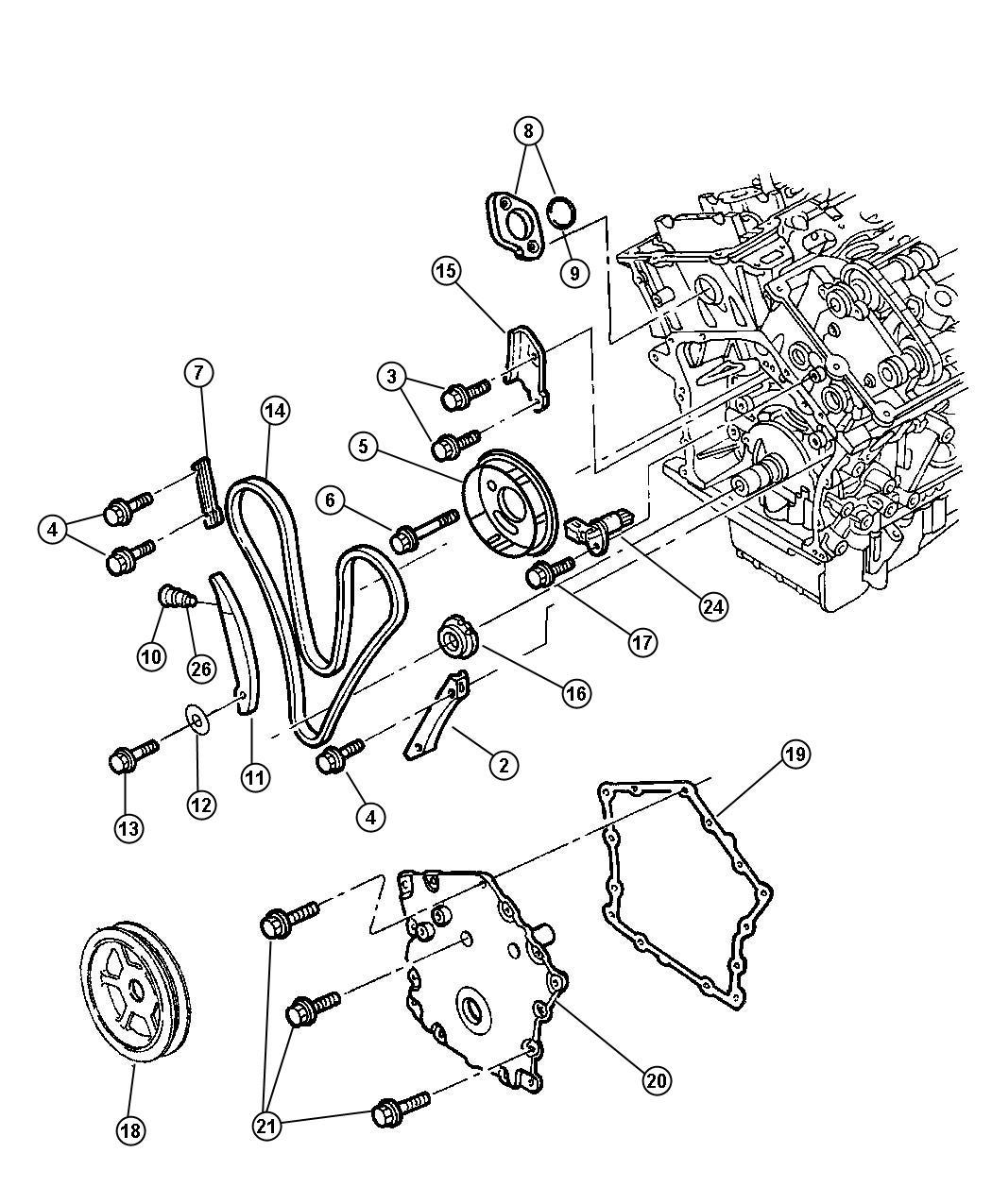 2002 dodge intrepid bolt  mounting  timing belt cover