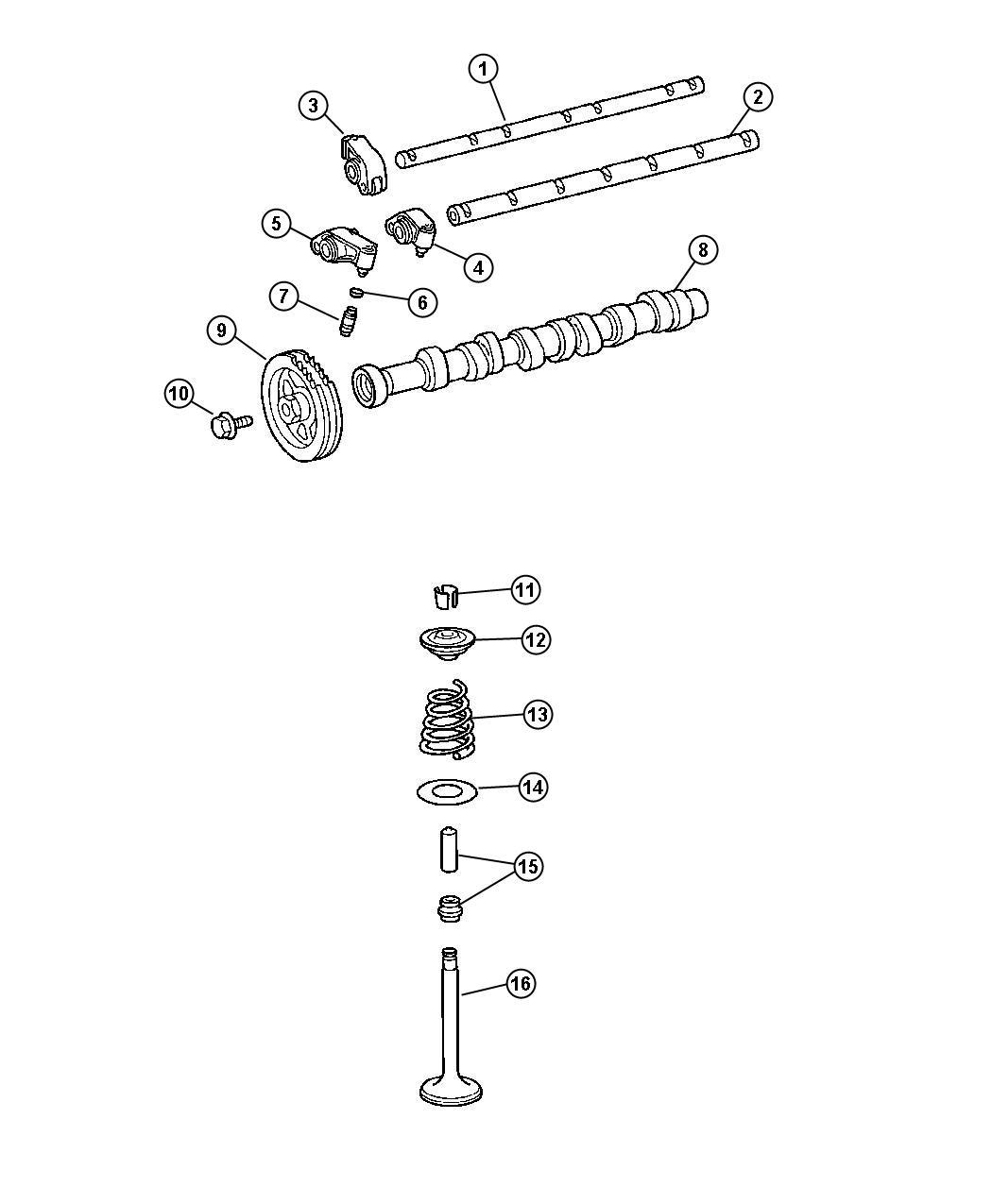 Chrysler Crossfire Shaft  Rocker Arm  Exhaust  Camshaft