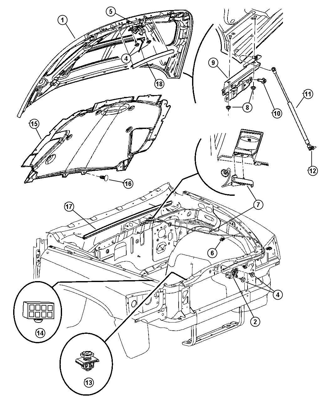 2003 Dodge Dakota Hood Release Diagram