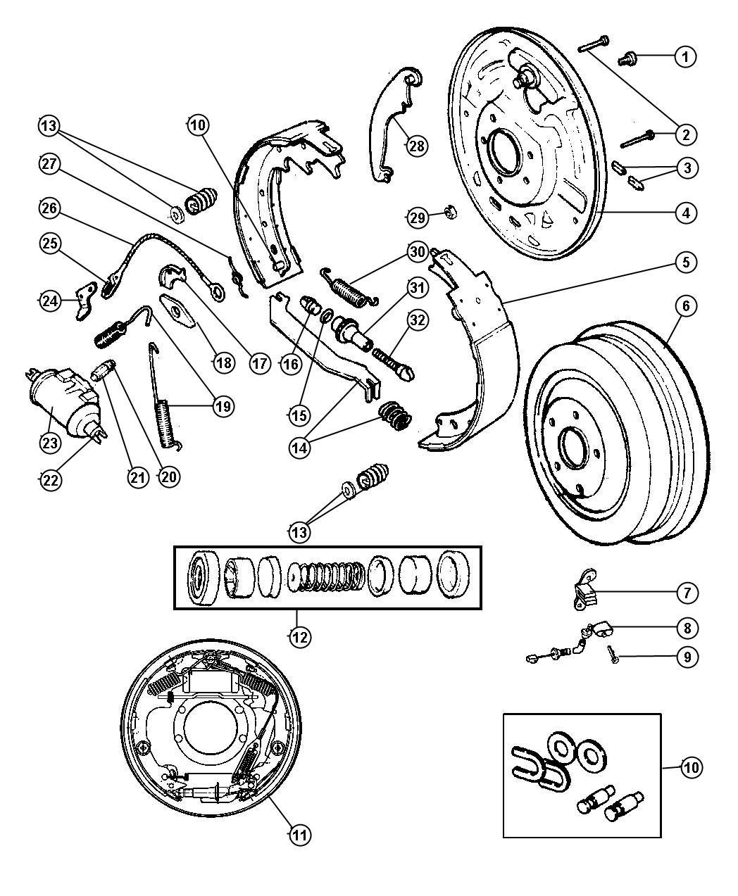1997 Dodge Dakota Plate  Brake Backing  Right   Brakes