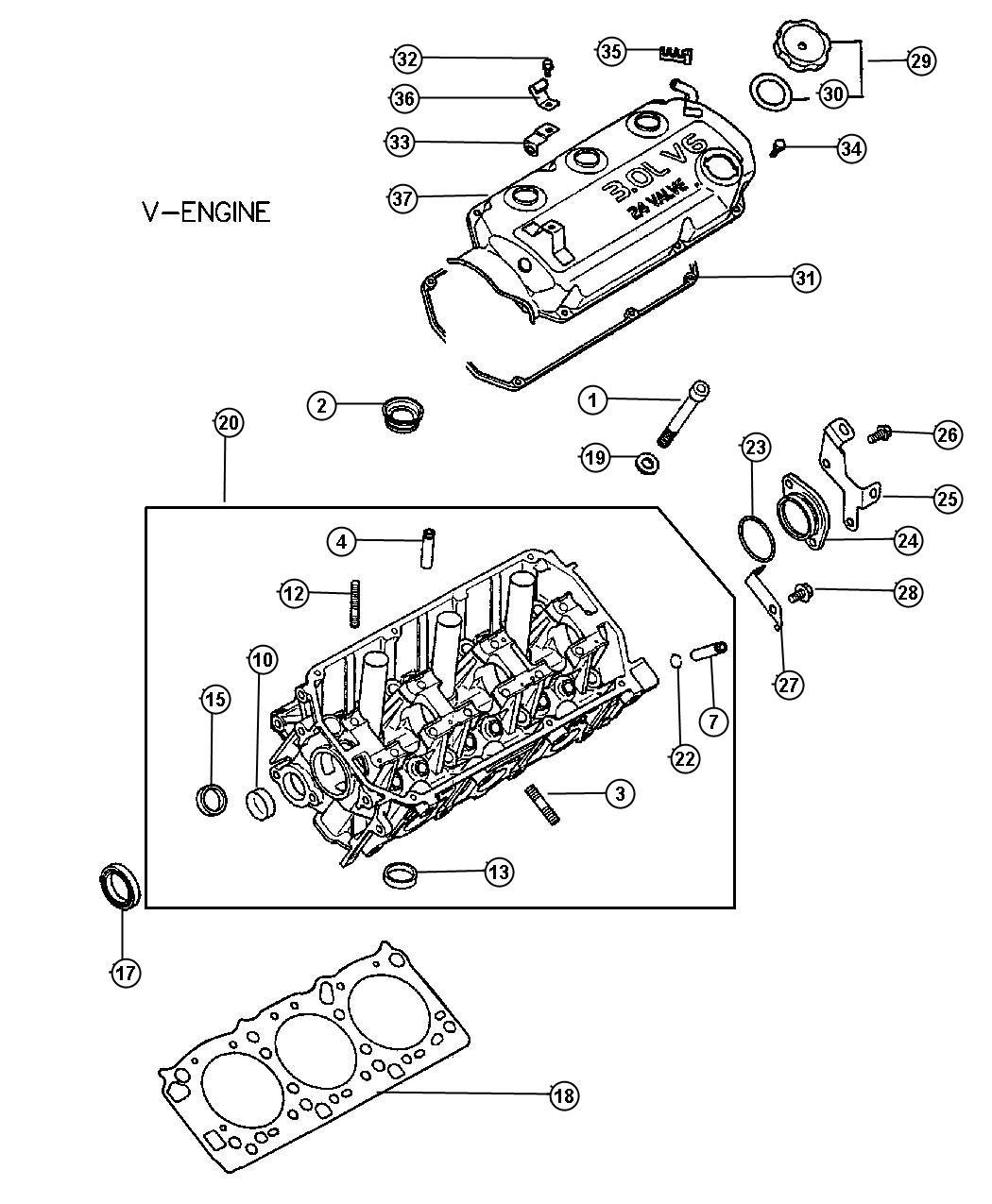 2005 Dodge Stratus Cap  Eng Oil Filler  Head  Cylinder