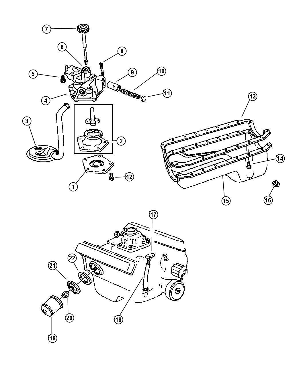 1998 Dodge Dakota Plate. Oil filter adapter. Engine ...