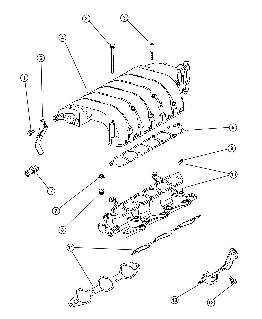 1996 chrysler cirrus gasket  intake plenum  gasket  intake
