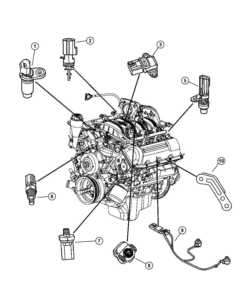2004 Dodge Durango Sensor. Camshaft. Engine, Sensors, Case