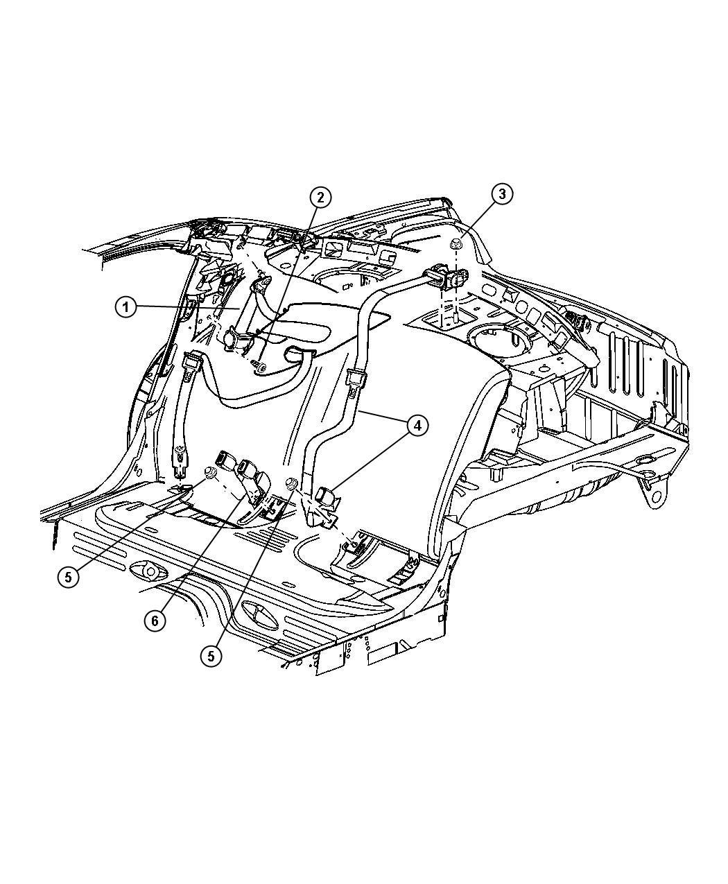 2005 Dodge Stratus Seat Belt  Retractor  Right   L5   Trim