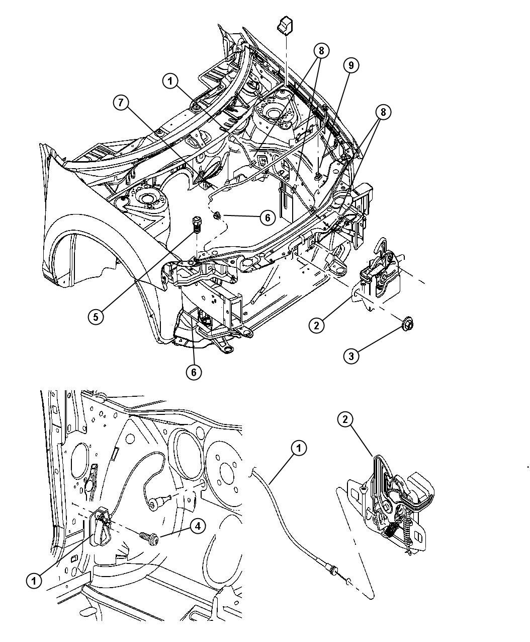 2005 Dodge Stratus Lever  Remote Hood Release  Body