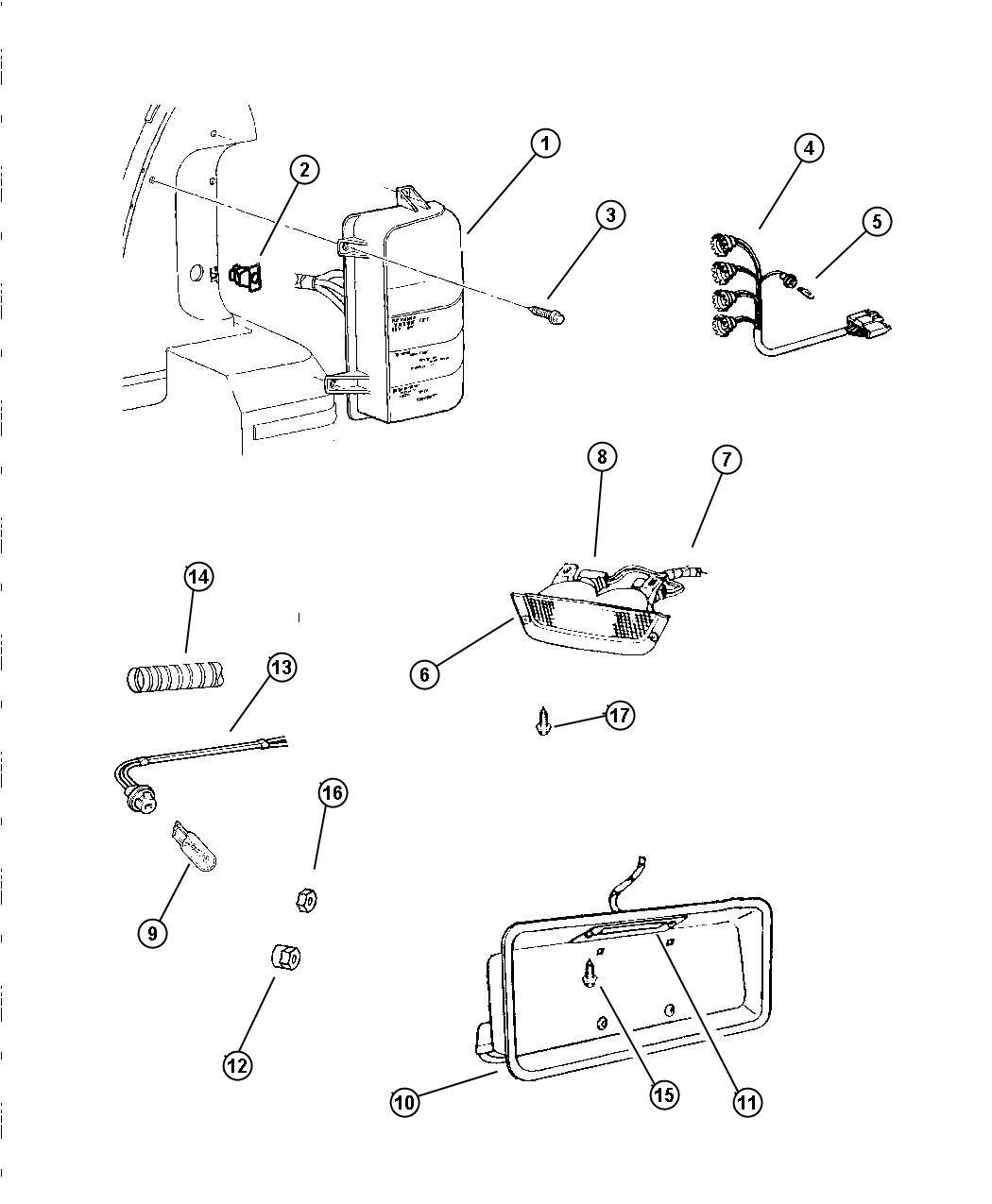 1998 Dodge Dakota Wiring  Tail Lamp  With Sockets  Rear  Body  Door