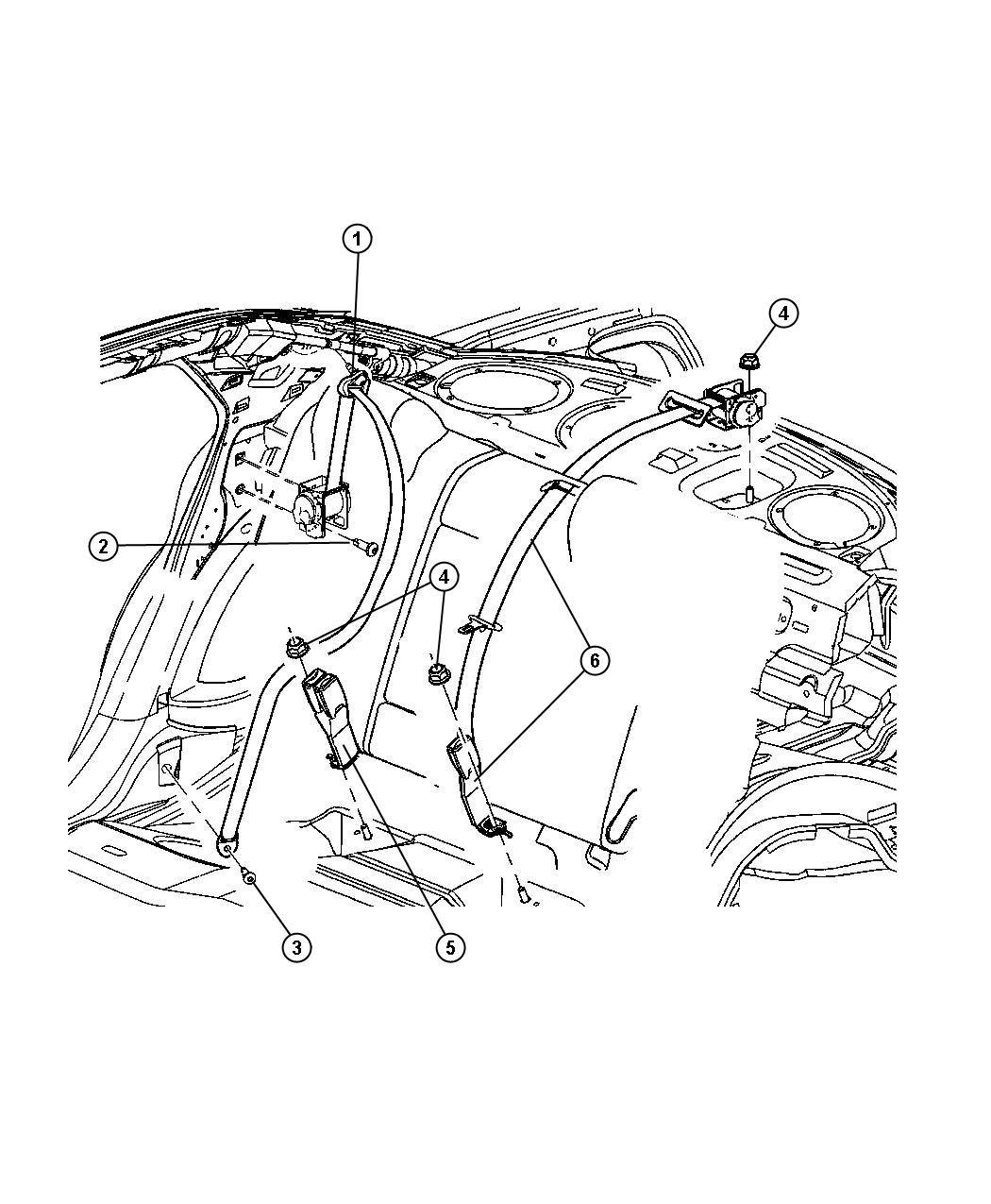 2005 Dodge Magnum Seat Belt Rear Inner Dd Trim O0