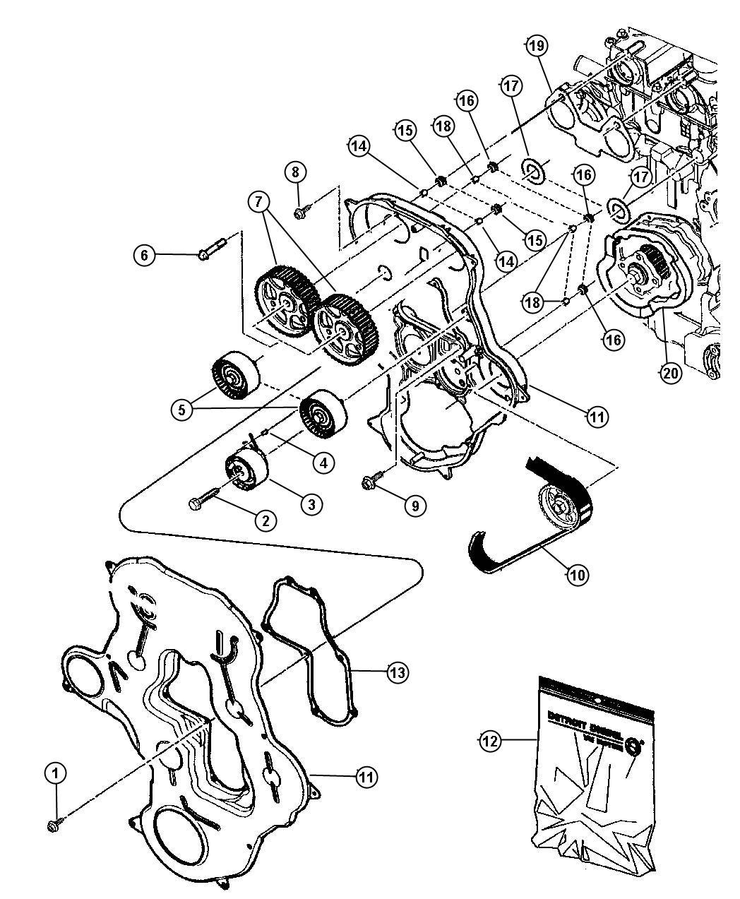 2013 dodge dart pulley  idler  engine  cover  belt