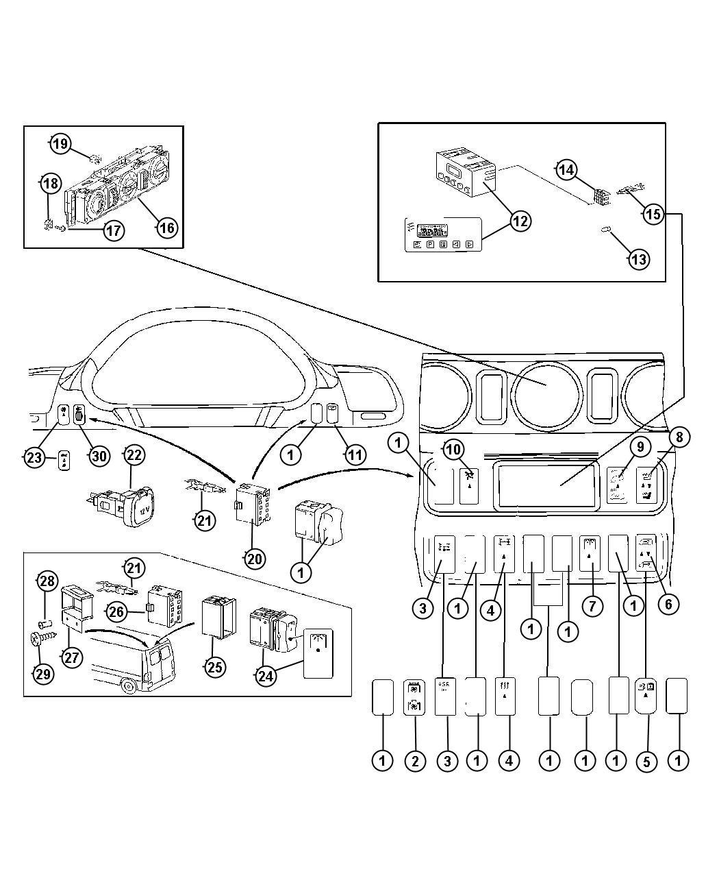 Dodge SPRINTER 3500 Switch. Cargo Lamp. [xzg]. Electrical