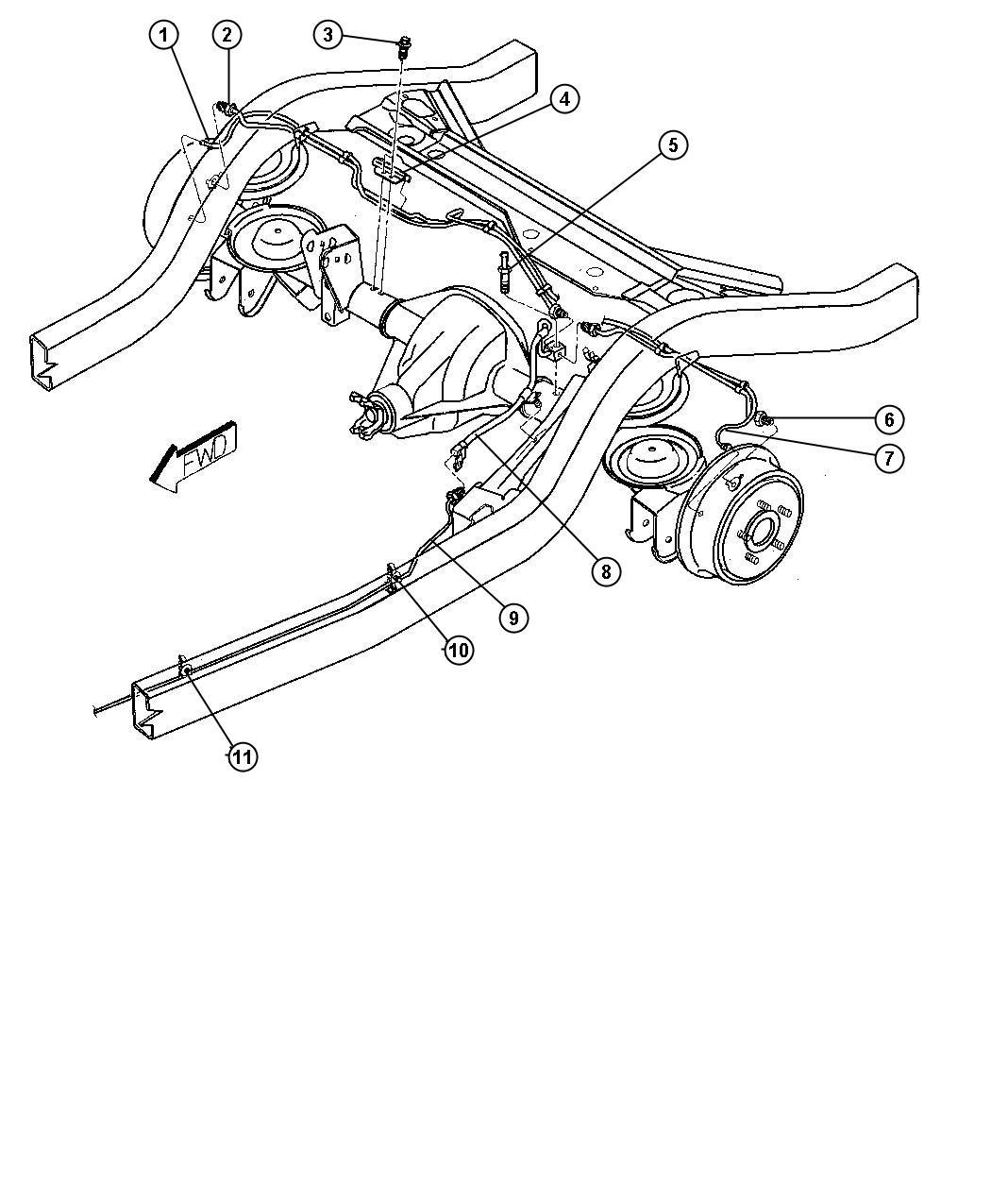 2000 Jeep Wrangler Tube  Brake  Right   Dana M35  194mm