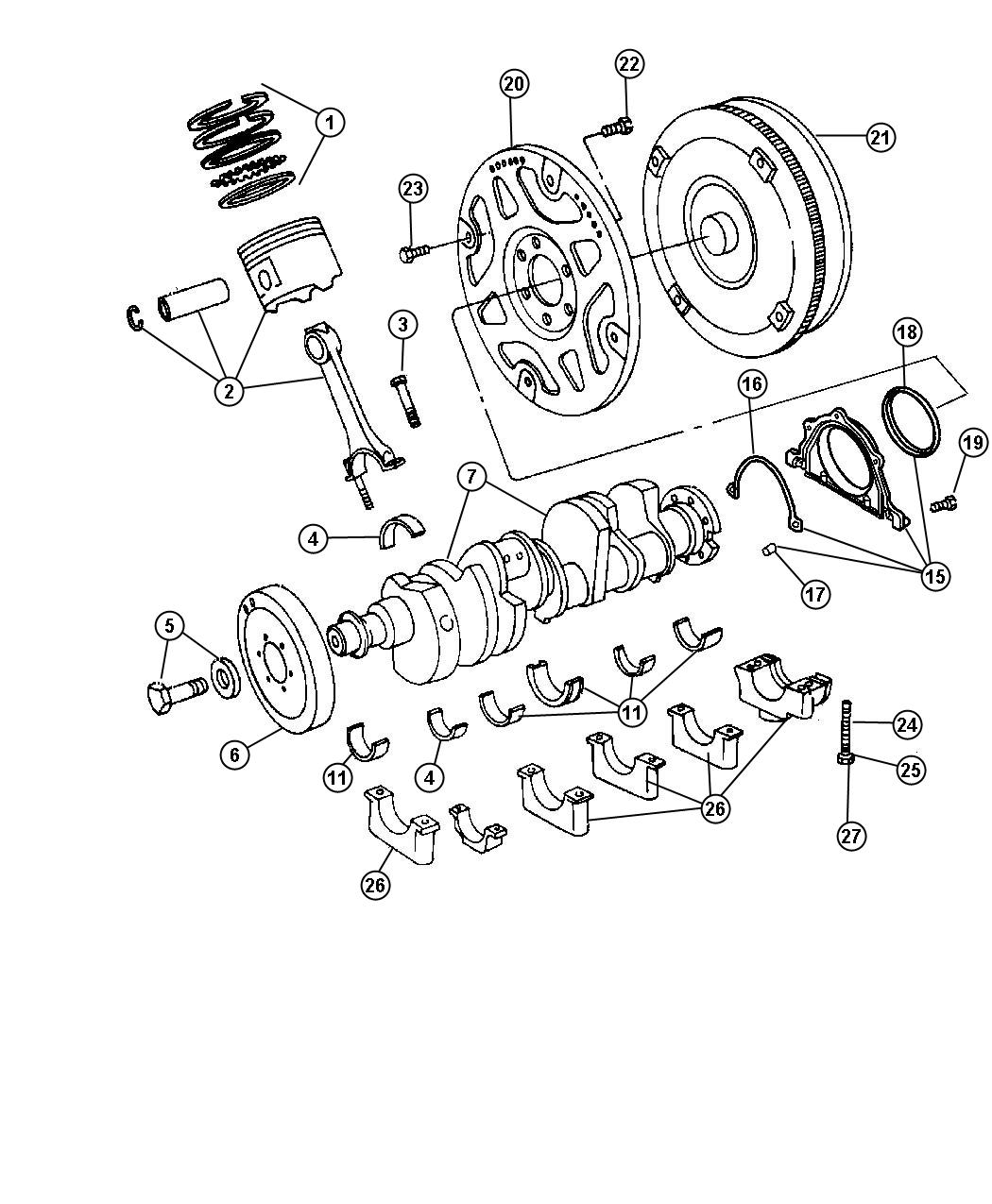 2009 Chrysler 300 Crankshaft. Engine. Tone, Ring, Esf