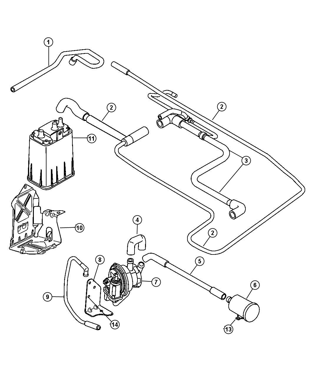 2001 Chrysler Pt Cruiser Pump  Leak Detection  Emissions  Tethered  Tank