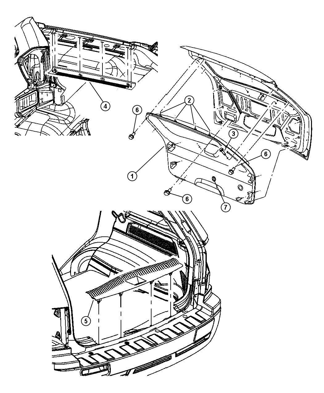 2006 Jeep Grand Cherokee Clip  Liftgate  Trim   All Trim Codes   Glass  Flipper