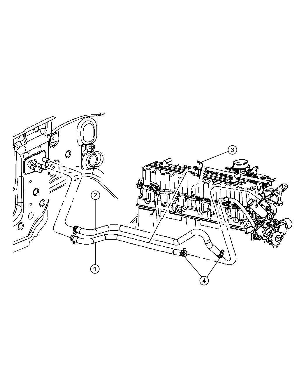 2006 Jeep Wrangler Hose  Heater Return  Engine  Hoses