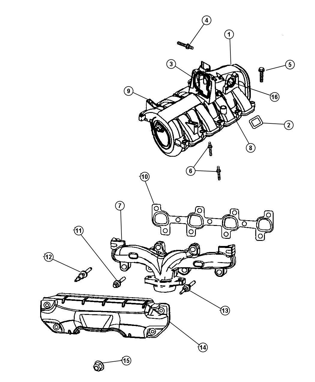 2006 Dodge Dakota Manifold  Exhaust  Right  Eva  Intake