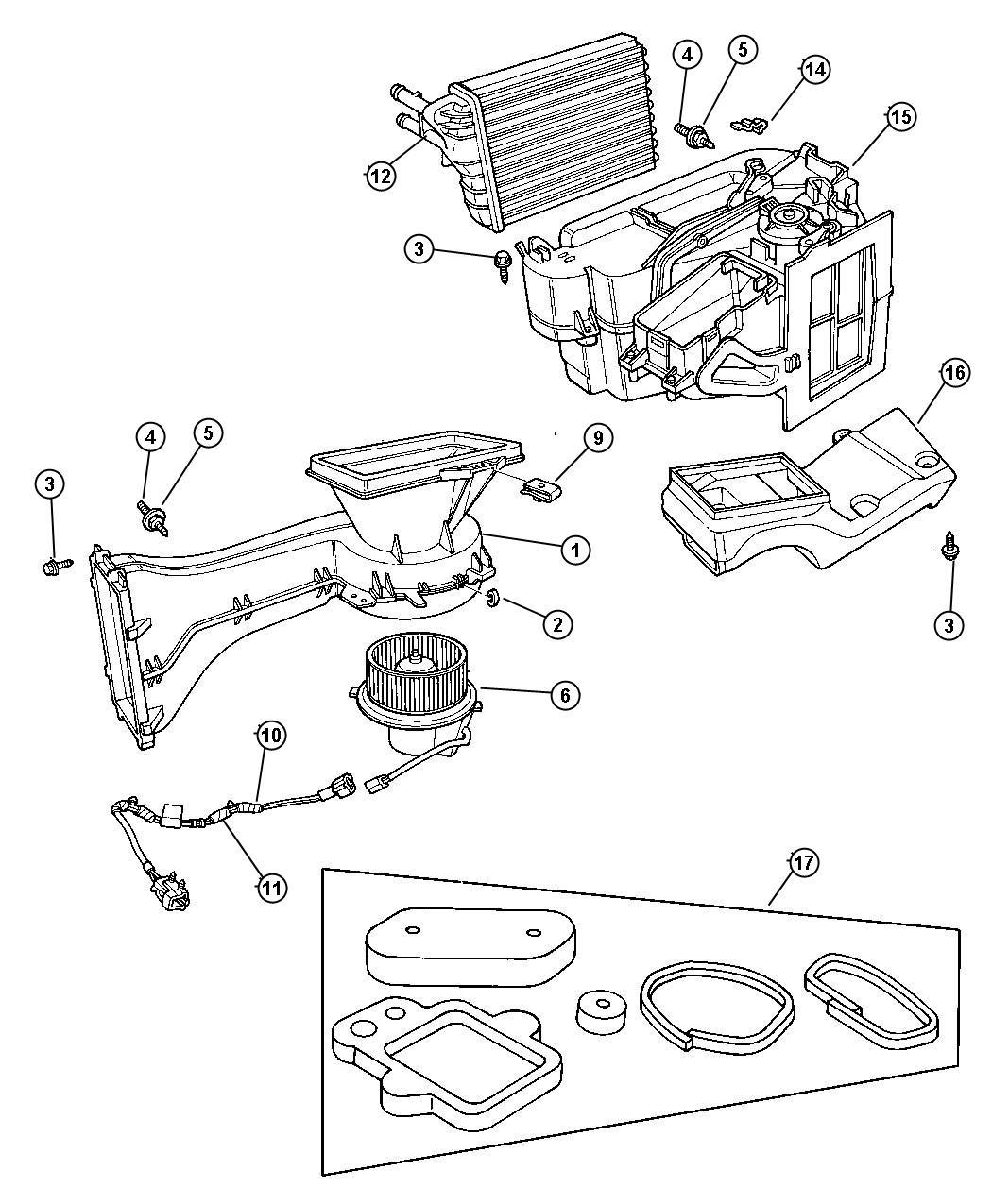 1997 Dodge Neon Motor Package  Heater Blower  Air