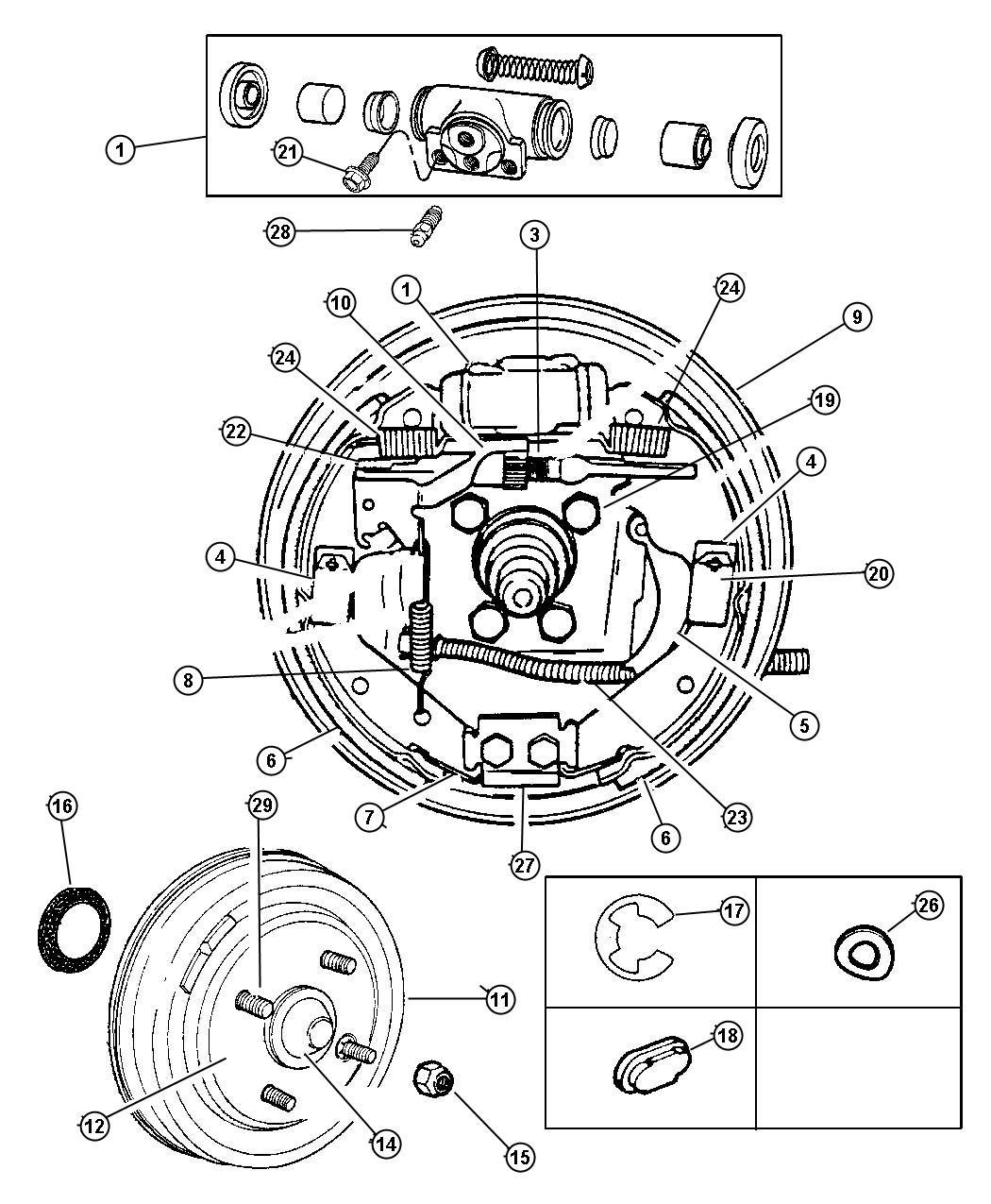 dodge neon brake drum diagram