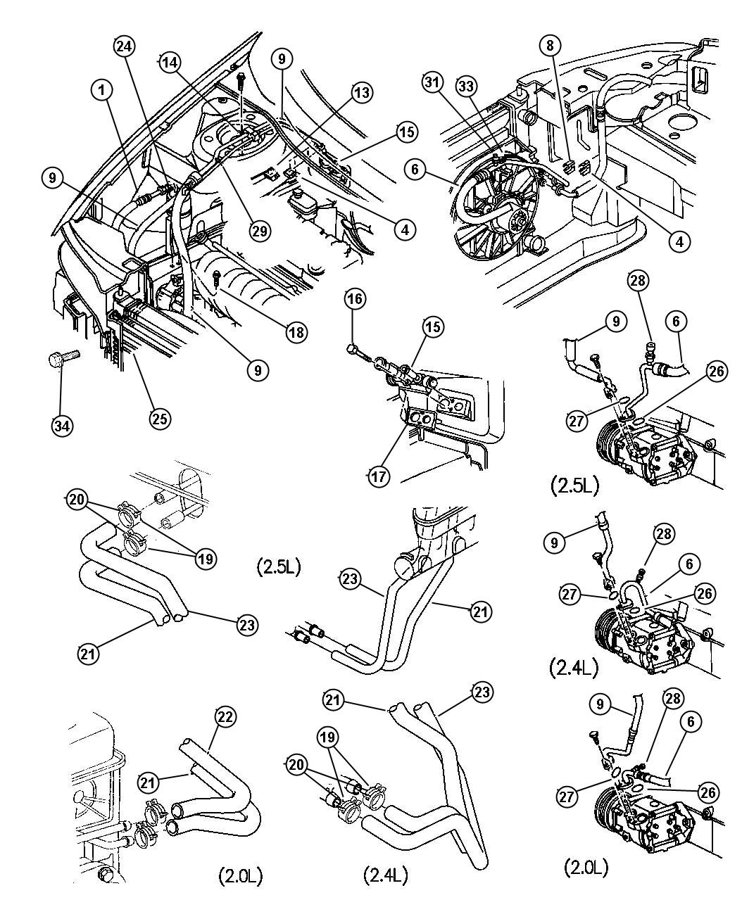 Dodge Stratus Hose. Heater core. Outlet - 04662182 ...