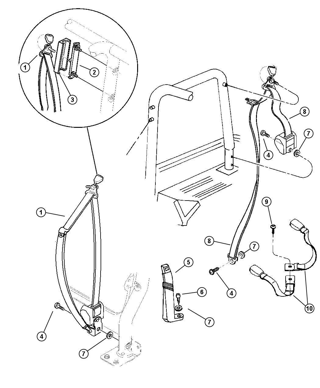 1997 Jeep Grand Cherokee Adjuster. Seat belt turning loop ...