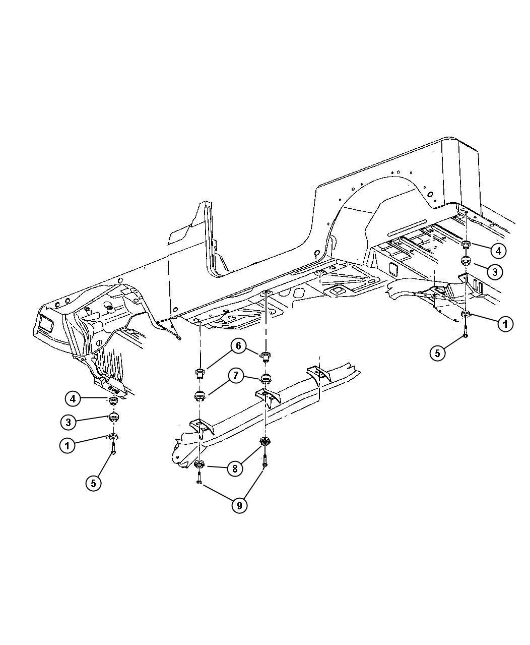 1999 Jeep Wrangler Insulator  Body Hold Down  Upper Body