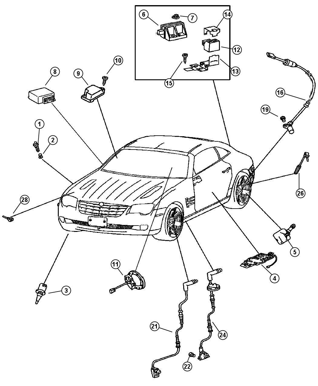 2006 Chrysler Crossfire Sensor. Washer fluid level. Trim ...