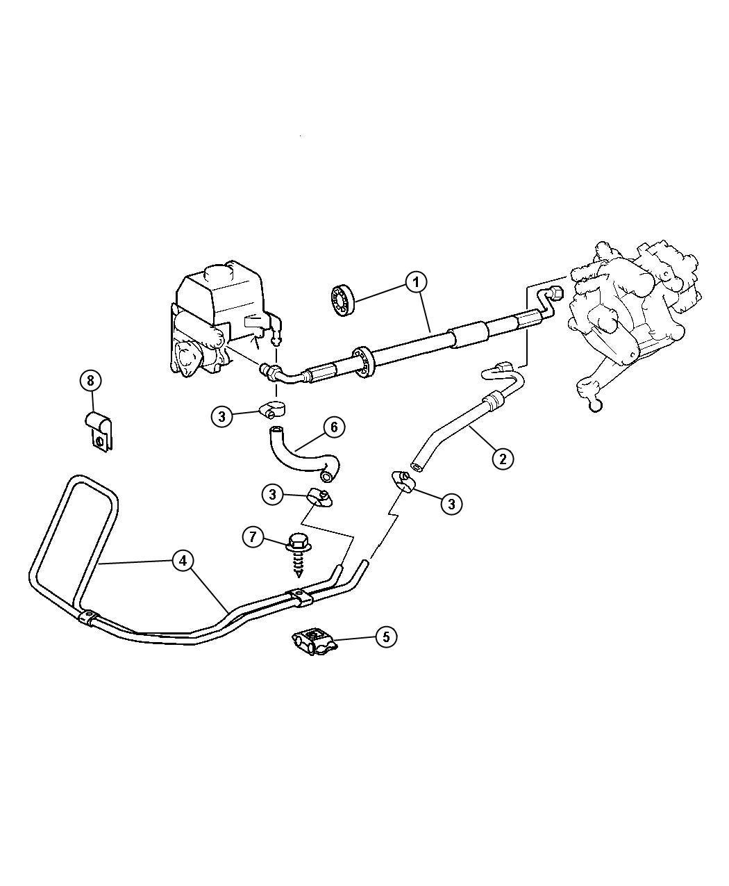 2006 chrysler crossfire hose  power steering return  convertible  coupe