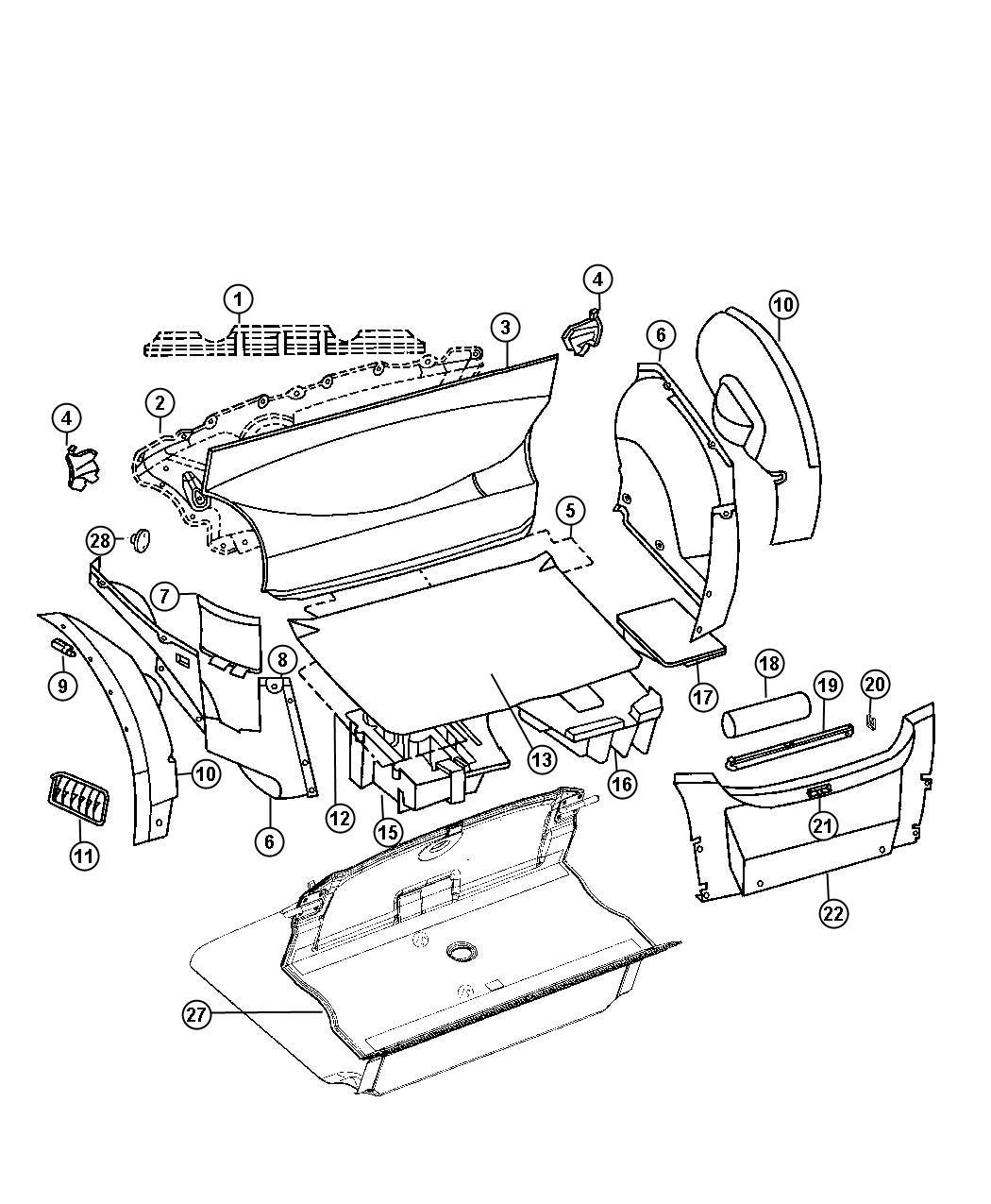 2005 Chrysler Crossfire Ring. Inner. Trim. Compartment