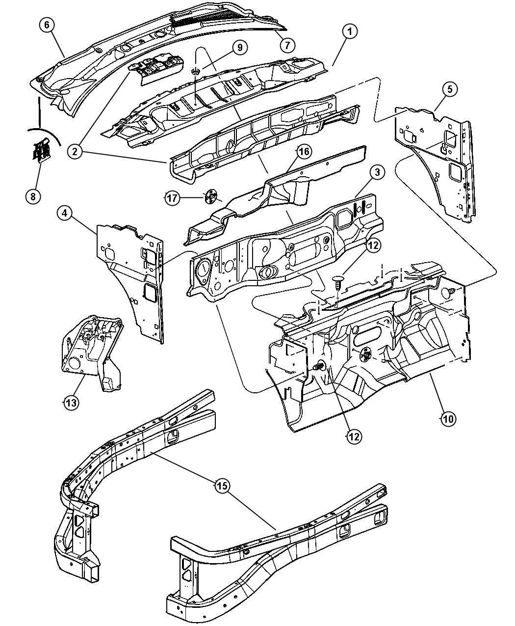 2004 Dodge Durango Panel Cowl Grille Wiper Windshield Washer 55362453ak Mopar Parts Inc