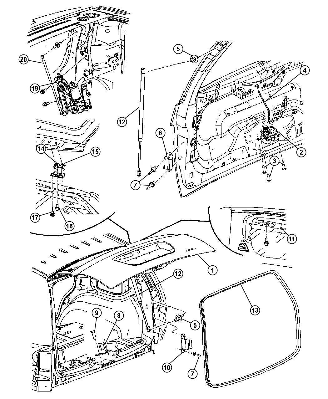 2006 Dodge Durango Panel Liftgate Trim Mopar Interior Glass Body 55364536ab Mopar